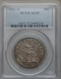 Seated Half Dollars: , 1861-O 50C AU53 PCGS. PCGS Population (15/175). NGC Census:(19/158). Mintage: 2,532,633. Numismedia Wsl. Price for problem...