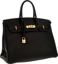Luxury Accessories:Bags, Hermes 35cm Black Ardennes Leather Birkin Bag with Gold Hardware& Shooting Star. ...