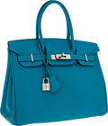 Luxury Accessories:Bags, Hermes 30cm Turquoise Chevre Leather Birkin Bag with PalladiumHardware. ...