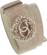 Chanel Beige Suede Belt with Gold CC Wreath Buckle