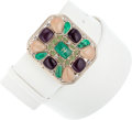 Luxury Accessories:Accessories, Chanel White Nubuck Suede Belt with Multicolor Cabochons. ...