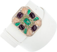 Chanel White Nubuck Suede Belt with Multicolor Cabochons