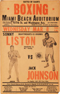 Boxing Collectibles:Memorabilia, 1961 Sonny Liston vs. Jack Johnson On-Site Fight Poster....