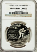 Modern Issues: , 1991-P $1 Korean War Silver Dollar PR69 Ultra Cameo NGC. NGCCensus: (2609/35). PCGS Population (2628/53). Mintage: 618,488...