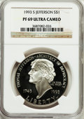 Modern Issues: , 1993-S $1 Jefferson Silver Dollar PR69 Ultra Cameo NGC. NGC Census:(2238/29). PCGS Population (1789/70). Mintage: 332,891....