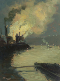 AARON HARRY GORSON (American, 1872-1933) Steel Mill at Night (Jones & Laughlin by Night) Oil on boar