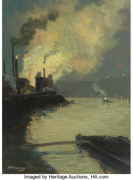 AARON HARRY GORSON (American, 1872-1933) Steel Mill at Night (Jones & Laughlin by Night) Oil on board 20 x 16 inches ...