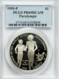 Modern Issues: , 1995-P $1 Olympic/Paralympics Silver Dollar PR69 Deep Cameo PCGS.PCGS Population (1955/71). NGC Census: (1405/40). Numism...