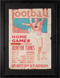 Football Collectibles:Others, 1926 Ironton Tanks Football Schedule Broadside....