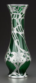 Art Glass:Other , AN ALVIN SILVER OVERLAY GREEN GLASS VASE . Alvin Corporation,Providence, Rhode Island, circa 1900. Marks: 999/1000 FineA...