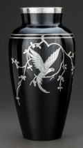 Art Glass:Other , A ROCKWELL SILVER OVERLAY BLACK GLASS VASE WITH PARROT DECORATION .Rockwell Silver Co., Meriden, Connecticut, circa 1920. ...