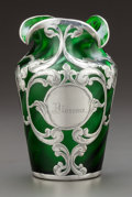 Art Glass:Other , A LA PIERRE SILVER OVERLAY GREEN GLASS VASE, New York, New York& Newark, New Jersey, circa 1900. Marks: L Sterling. 5i...