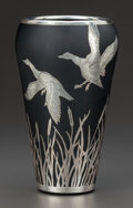 Art Glass:Other , AMERICAN SILVER OVERLAY BLACK GLASS VASE ATTRIBUTED TO ROCKWELL,circa 1920. Marks: Sterling. 7-1/4 inches high (18.4 cm...