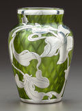 Art Glass:Steuben, A STEUBEN GREEN QUILTED GLASS VASE WITH LA PIERRE SILVER OVERLAY .Steuben Glass, Corning, New York, circa 1900. Marks: (eff...