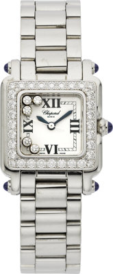 "Chopard Lady's Diamond, Stainless Steel ""Happy Sport"" Wristwatch"
