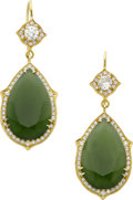 Estate Jewelry:Earrings, Sylva & Cie Jade, Diamond, Gold Earrings. ...