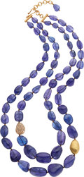 Estate Jewelry:Necklaces, Yossi Harari Tanzanite, Diamond, Gold Necklace. ...