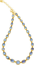 Estate Jewelry:Necklaces, Gurhan Moonstone, Diamond, Gold Necklace. ...