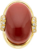 Estate Jewelry:Rings, Henry Dunay Coral, Diamond, Gold Ring. ...