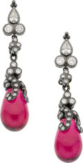 Estate Jewelry:Earrings, Paula Crevoshay Tourmaline, Diamond, Gold Earrings. ...