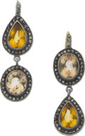 Estate Jewelry:Earrings, Yossi Harari Citrine, Diamond, Gold, Silver Earrings. ...