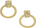 Estate Jewelry:Earrings, David Yurman Diamond, Gold Earrings. ...