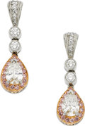 Estate Jewelry:Earrings, Michael Beaudry Diamond, Platinum, Gold Earrings. ...