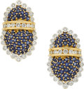 Estate Jewelry:Earrings, Salavetti Sapphire, Diamond, Gold Earrings. ...