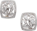 Estate Jewelry:Earrings, Michael Beaudry Diamond, Platinum Earrings. ...