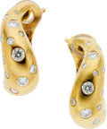 Estate Jewelry:Earrings, Fred Paris Diamond, Gold Earrings. ...