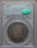 Early Half Dollars: , 1807 50C Draped Bust VF25 PCGS. CAC. PCGS Population (111/719). NGCCensus: (58/1405). Mintage: 301,076. Numismedia Wsl. Pr...