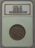 Large Cents, 1853 1C MS66 Brown NGC. N-9, R.2....