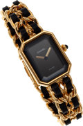Luxury Accessories:Accessories, Chanel Premiere Ladies Watch with Classic Gold Chain & LeatherStrap Size M. ...