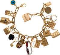 Stunning 18k Yellow Gold Charm Bracelet with 19 18k Gold Hermes, Chanel, Louis Vuitton, Cartier, Tiffany & Co., and...