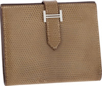 Hermes Ficelle Lizard Mini Bearn Bi-fold Wallet with Palladium Hardware