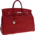Luxury Accessories:Bags, Hermes 50cm Rouge Garance Togo Leather Travel Birkin Bag withPalladium Hardware. ...