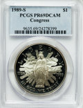 Modern Issues: , 1989-S $1 Congress Silver Dollar PR69 Deep Cameo PCGS. PCGSPopulation (2513/69). NGC Census: (3218/65). Mintage: 762,198. ...