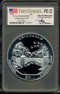 2011 25C Chickasaw Five-Ounce Silver, First Strike MS69 Deep Mirror Prooflike PCGS. Ex: Signature of John M. Mercanti, 1...