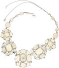 Luxury Accessories:Accessories, Chanel Jade Green Sparkling Jeweled Statement Necklace with CCLogo. ...