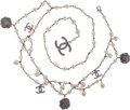 Luxury Accessories:Accessories, Chanel Silver, Pearl & Crystal Belt with Camelia and CC Charms. ...