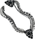 Luxury Accessories:Accessories, Chanel Runway, Massive Black Onyx & Crystal Double GunmetalBrooch with Multi-strand Chain. ...