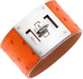 Luxury Accessories:Bags, Hermes Tangerine Ostrich Kelly Dog Bracelet with Palladium Hardware. ...