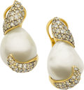 Estate Jewelry:Earrings, Robert Wander Cultured Pearl, Diamond, Gold Earrings. ...