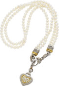 Estate Jewelry:Necklaces, Judith Ripka Freshwater Cultured Pearl, Diamond, Gold, Silver Necklace. ...
