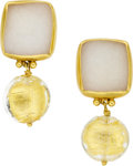 Estate Jewelry:Earrings, Gloria Natale Drusy Quartz, Glass, 22k Gold Earrings. ...