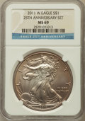 Modern Bullion Coins, 2011-W $1 Silver Eagle, 25th Anniversary Set MS69 NGC. NGC Census:(7999/9856). PCGS Population (921/632). Numismedia Wsl....