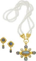 Estate Jewelry:Suites, Elizabeth Locke Moonstone, Labradorite, Cultured Pearl, 18k GoldJewelry Suite. ... (Total: 2 Items)