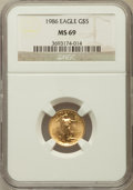 Modern Bullion Coins, 1986 G$50 One-Ounce Gold Eagle, First Year of Issue MS69 NGC, 1986 G$25 Half-Ounce Gold Eagle, First Year of Issue MS69 NGC... (Total: 4 coins)