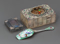 Silver Smalls, A JEWELED SONGBIRD BOX, SILVER ENAMELED SUGAR SCOOP AND SILVERCOMPACT. 20th century. Marks: STERLING. 1-1/2 x 4-1/8 x 2...
