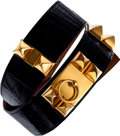 Luxury Accessories:Accessories, Hermes 80cm Shiny Black Porosus Crocodile Collier de Chien Belt with Gold Hardware. ...